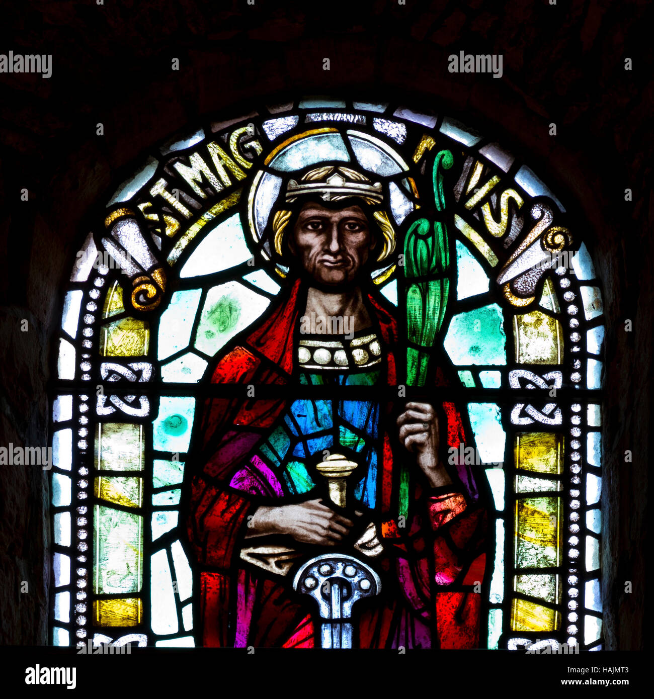 Saint Magnus the Martyr stained glass window, Orkney - Stock Image