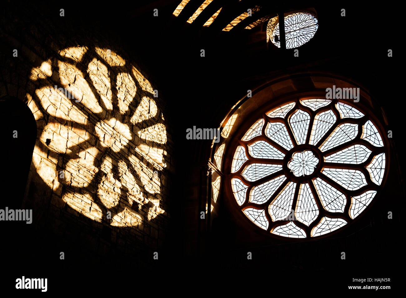 St Magnus Cathedral round window, Kirkwall - Stock Image