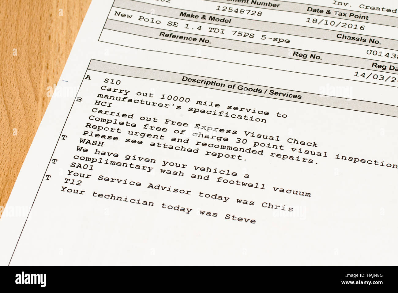 VW Polo car Service statement Stock Photo: 127030976 - Alamy