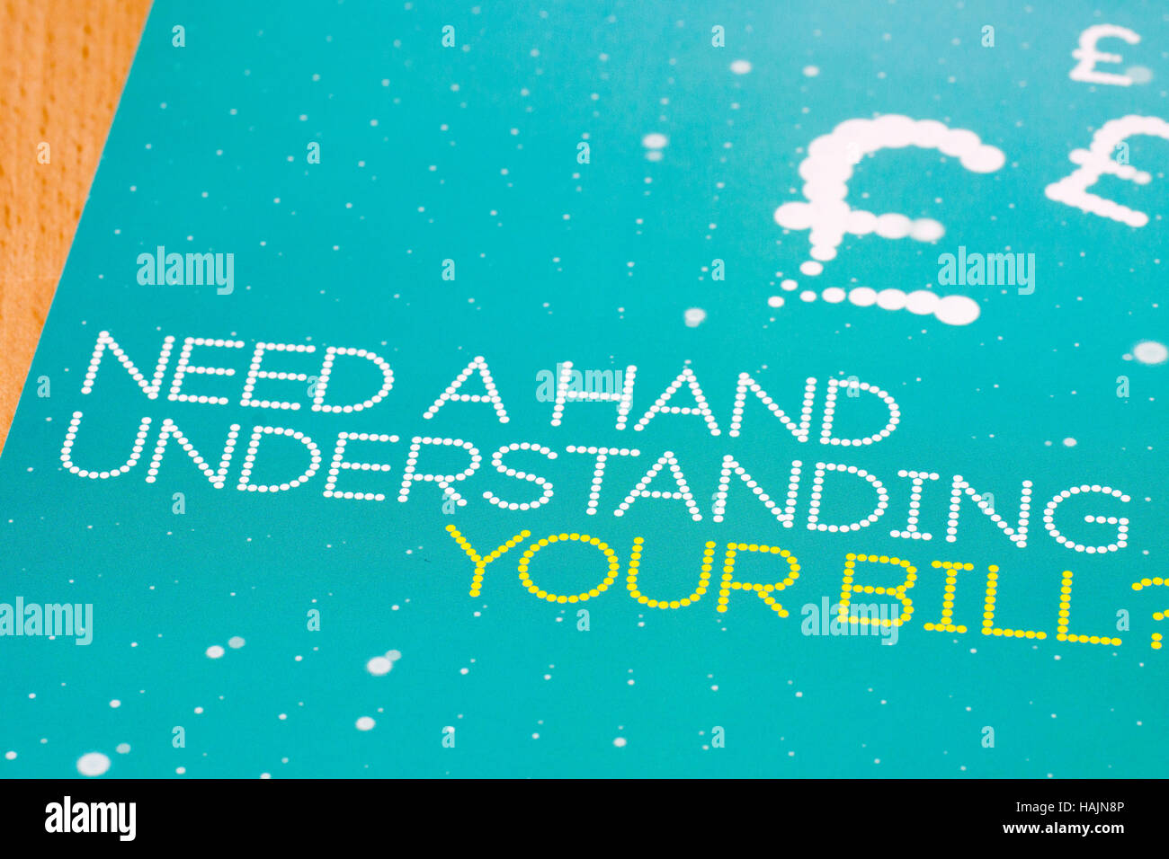 Need a hand understanding your bill leaflet EE telephone - Stock Image