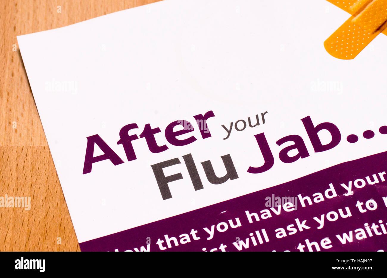 After your Flu Jab leaflet - Stock Image