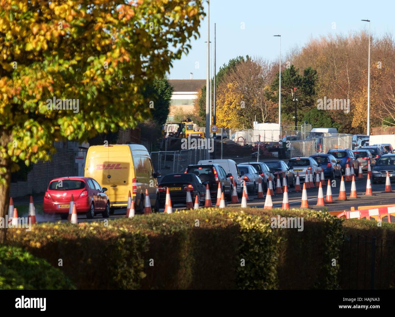 Bradley Stoke traffic Congestion Bristol Metro Bus construction - Stock Image