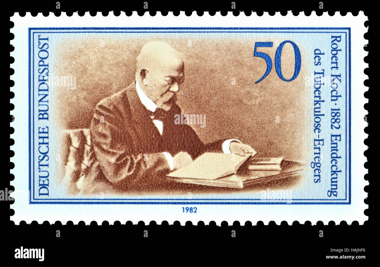 German postage stamp (1982) : Robert Heinrich Hermann Koch (1843-1910) German physician and microbiologist. Founder - Stock Image