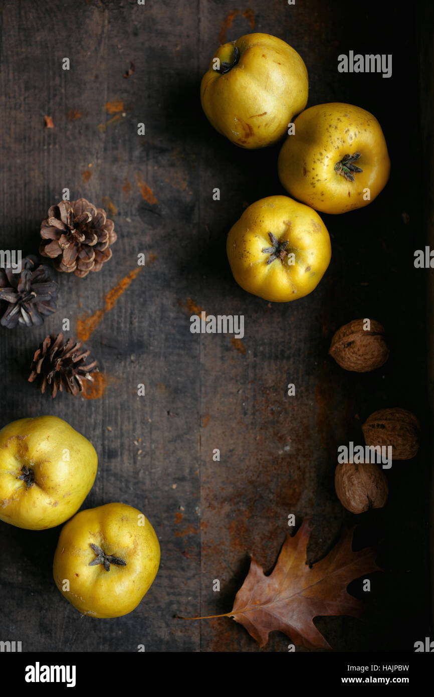 An autumn still life with quinces on dark wooden table - Stock Image