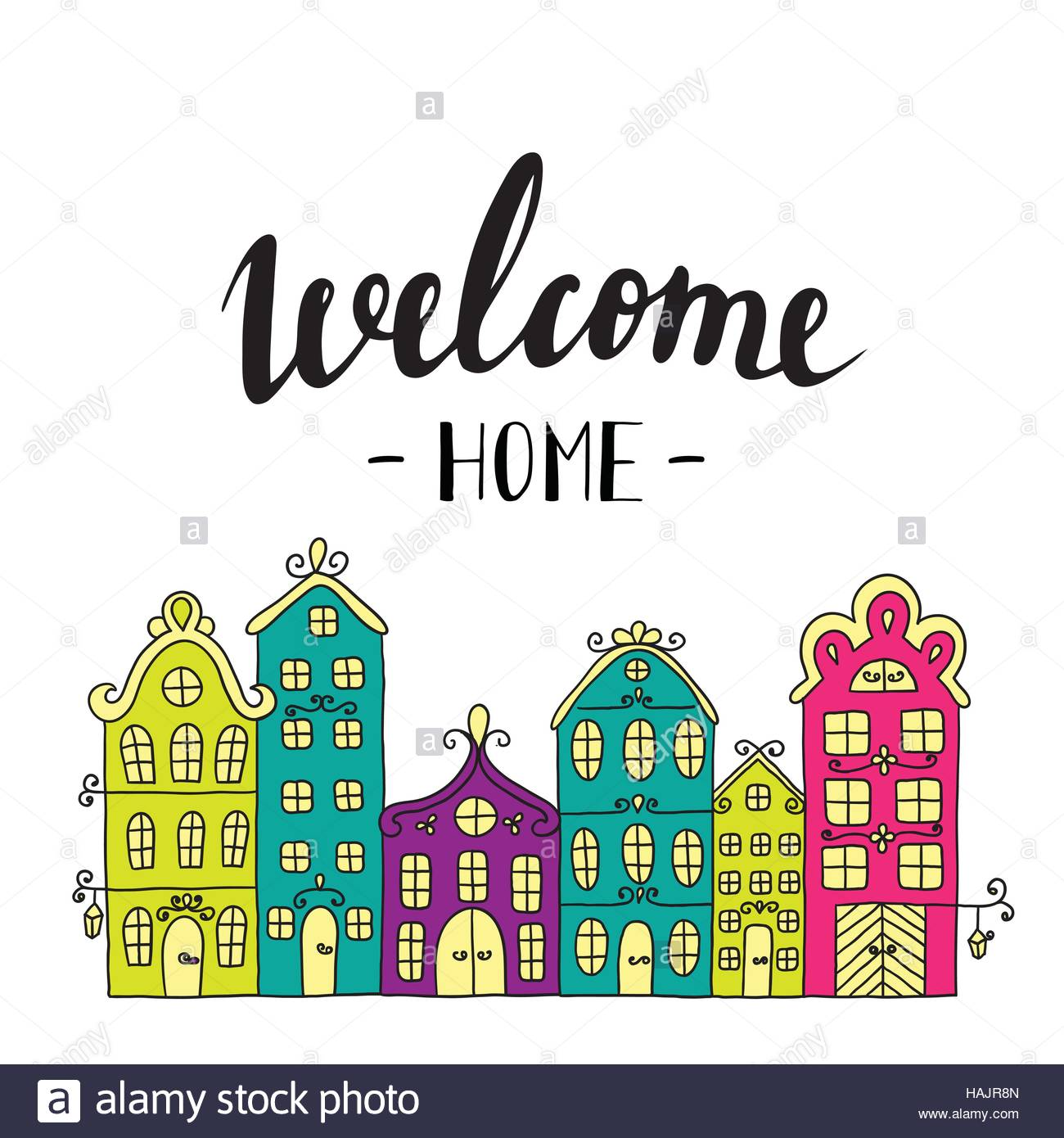 Town building. City streets with phrase welcome home. Lettering ...