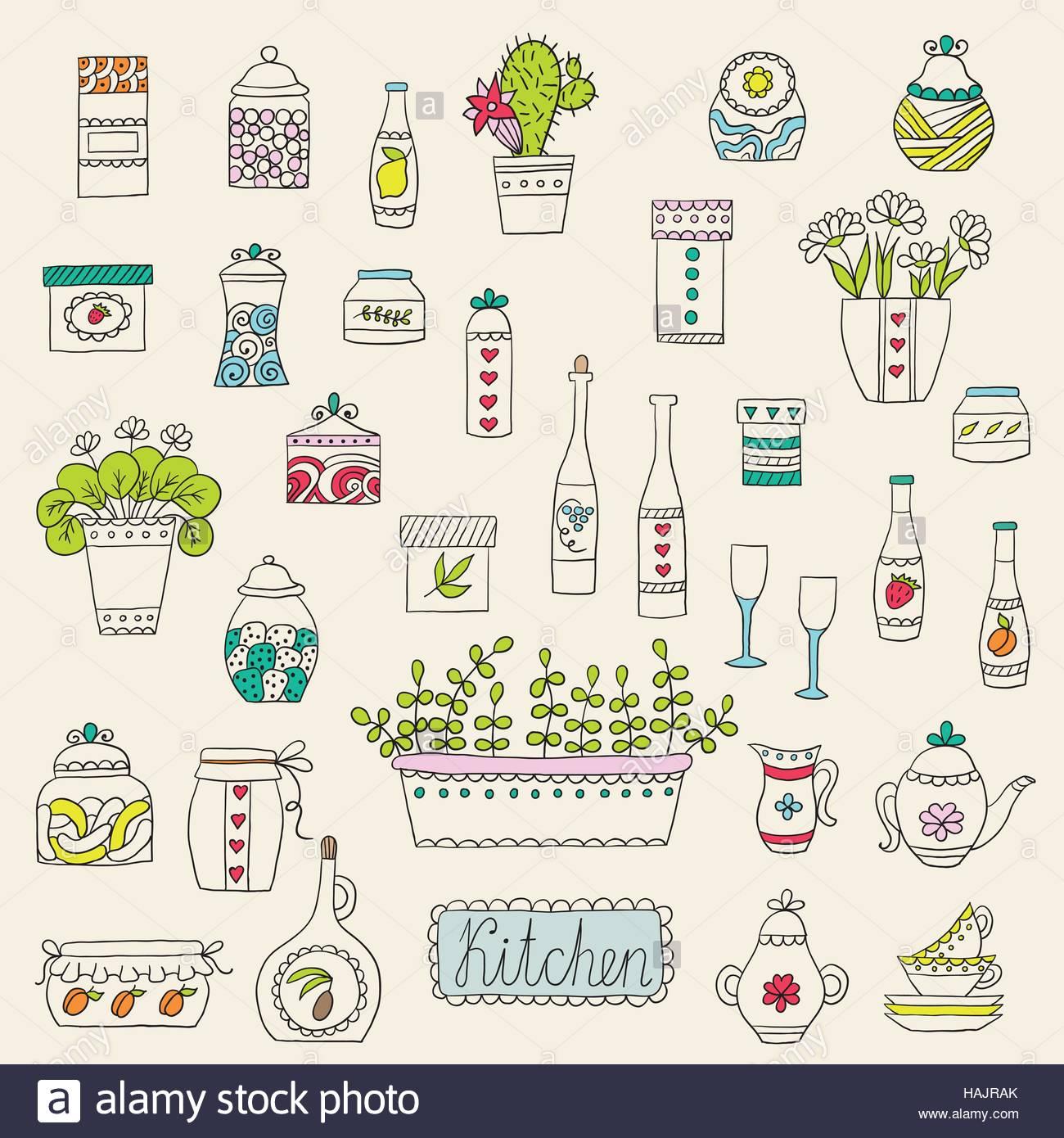 Kitchen Set In Vector Cartoon Design Elements Stock Vector Art