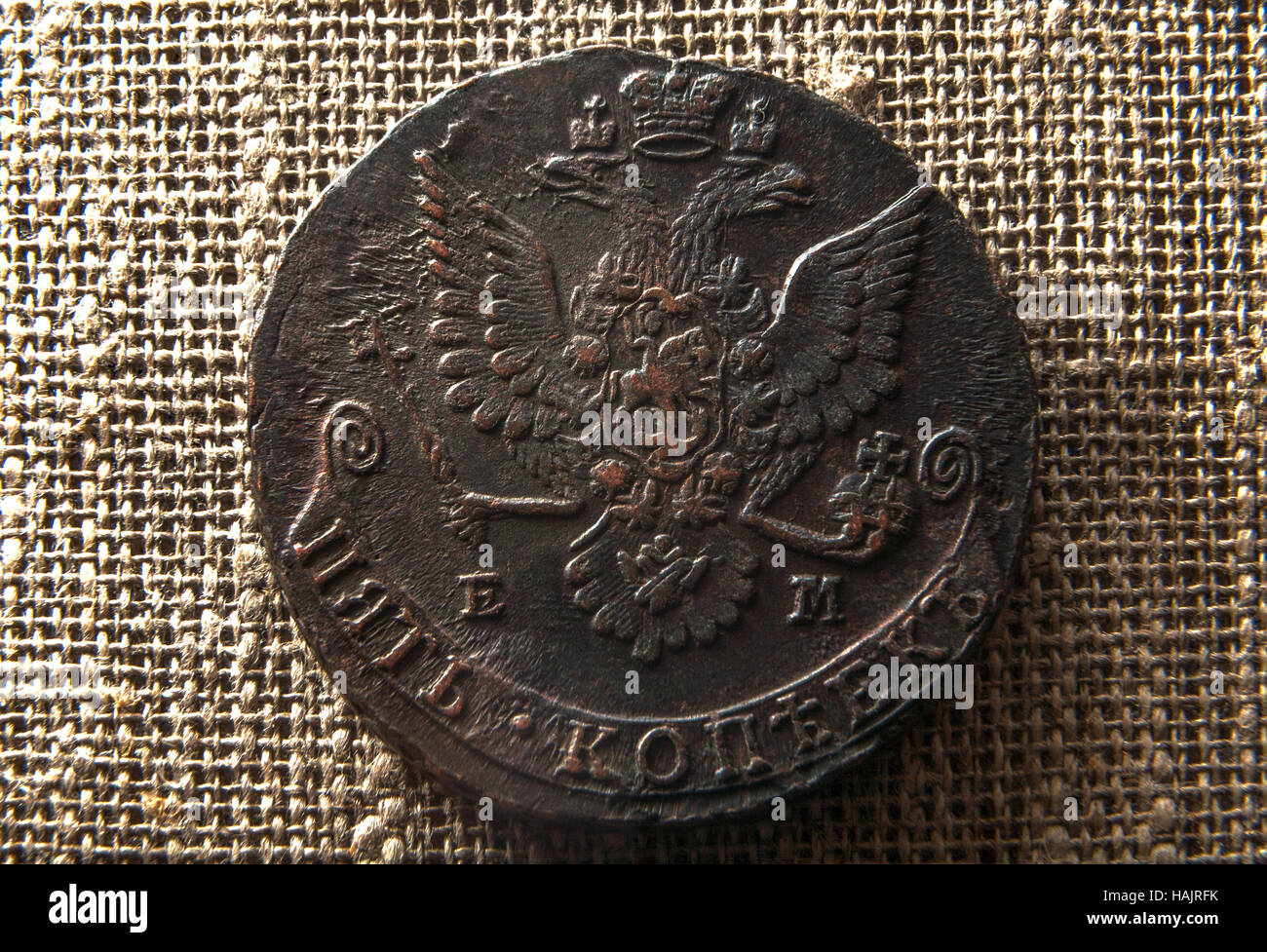 copper coin with a eagle - Stock Image