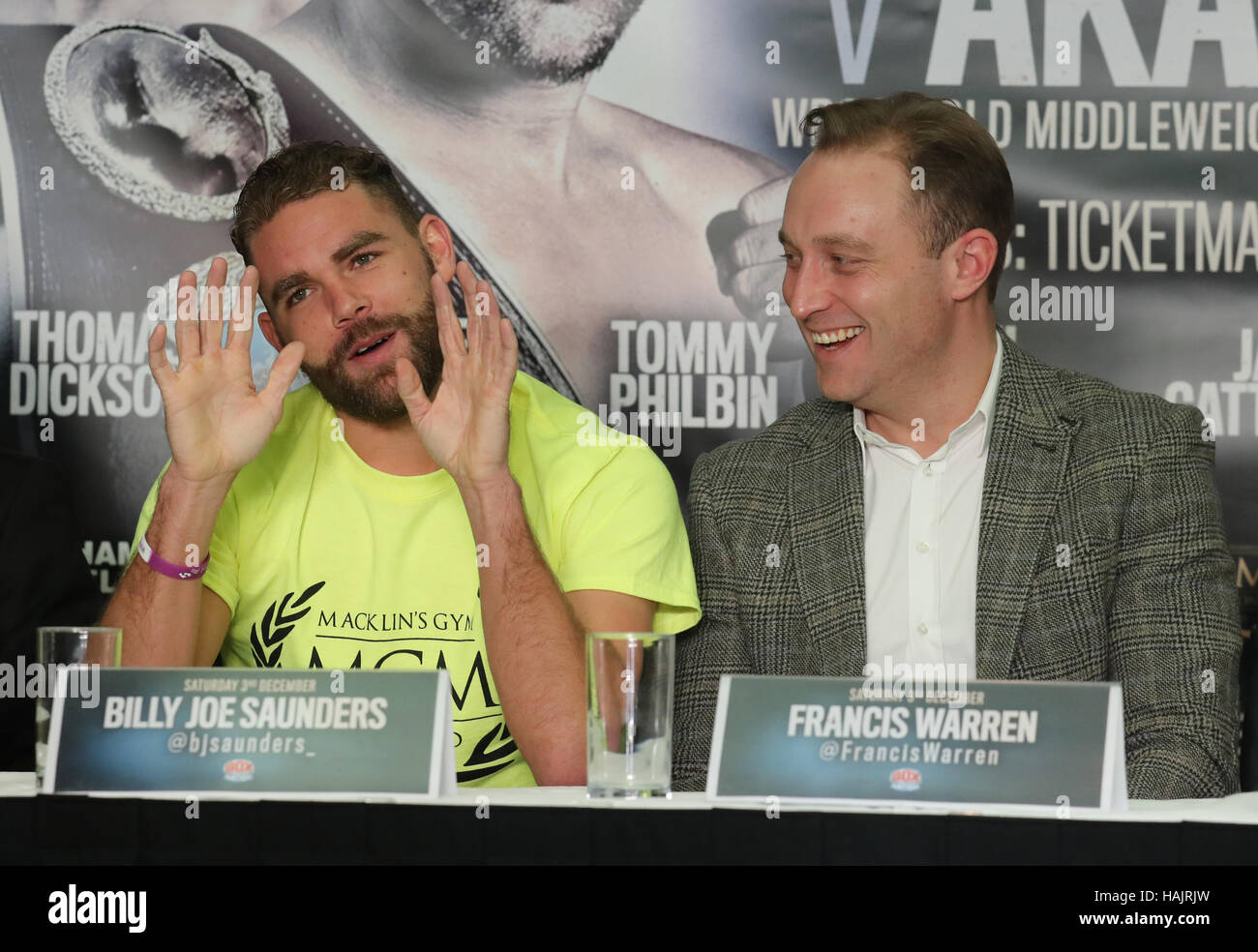 Boxer Billy Joe Saunders (left) with promoters Francis Warren during a press conference at Crown Plaza Hotel, Glasgow. - Stock Image