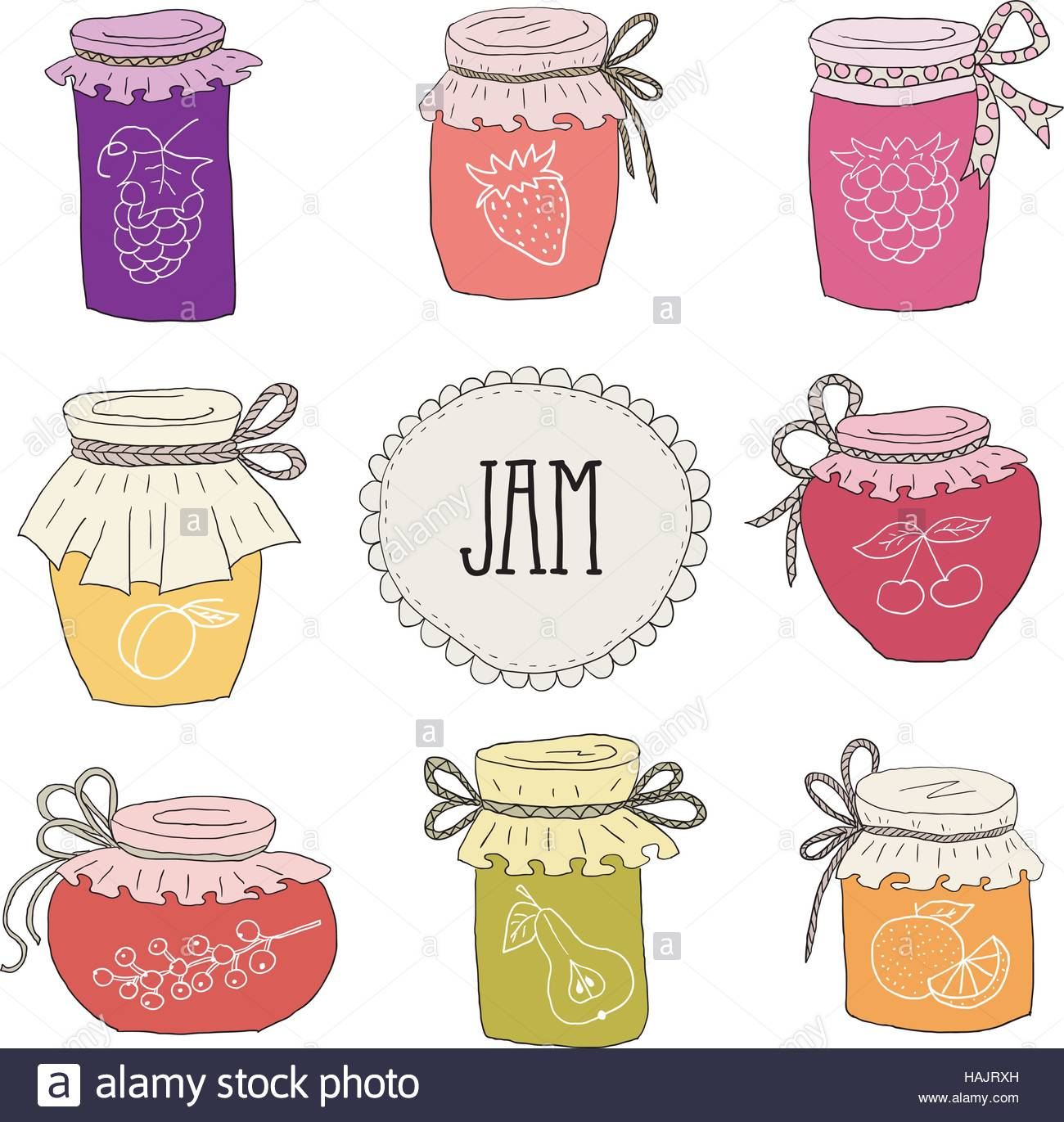 The Set Of Hand Drawn Jars With Home Made Jams Home Canning Of