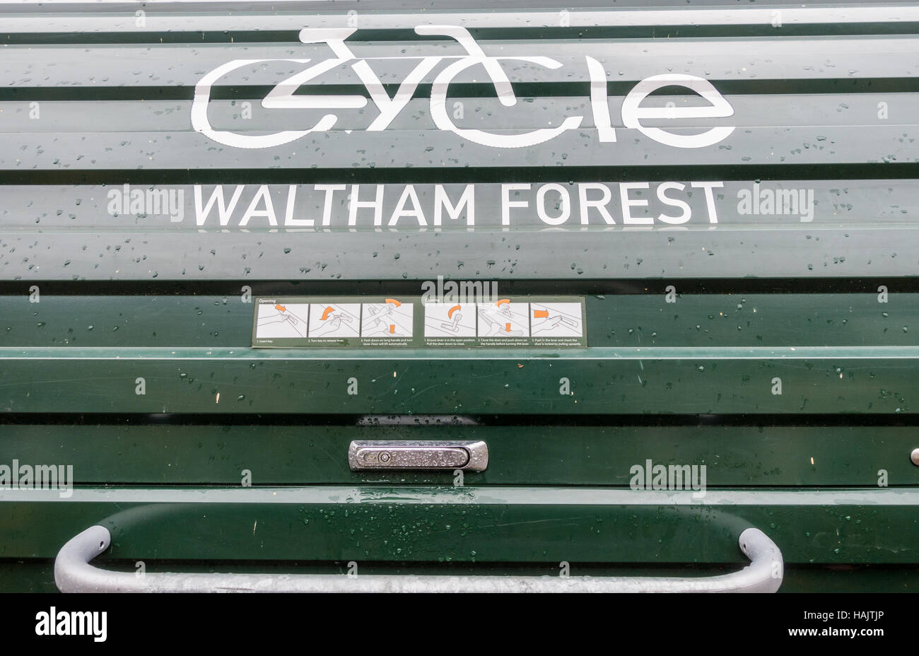 A bike hangar, on street secure storage rental scheme for bicycles in Waltham Forest, London Stock Photo