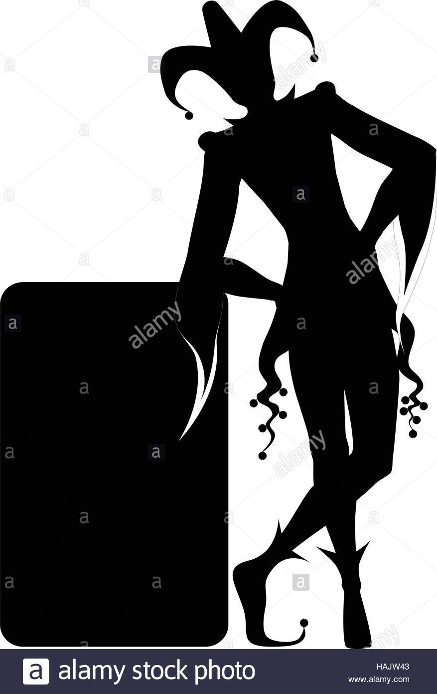 The black joker silhouette and playing card stock image