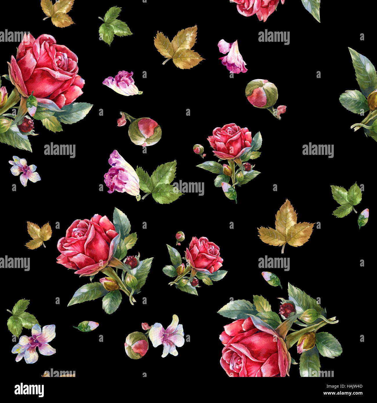 Watercolor Painting Illustration Of Red Rose Seamless Pattern On