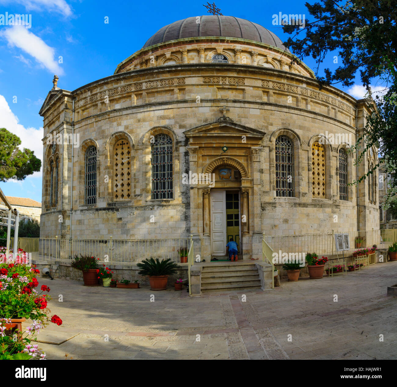 JERUSALEM, ISRAEL - SEPTEMBER 23, 2016: The Ethiopian Orthodox Tewahedo Church, with a prayer, in Jerusalem, Israel - Stock Image