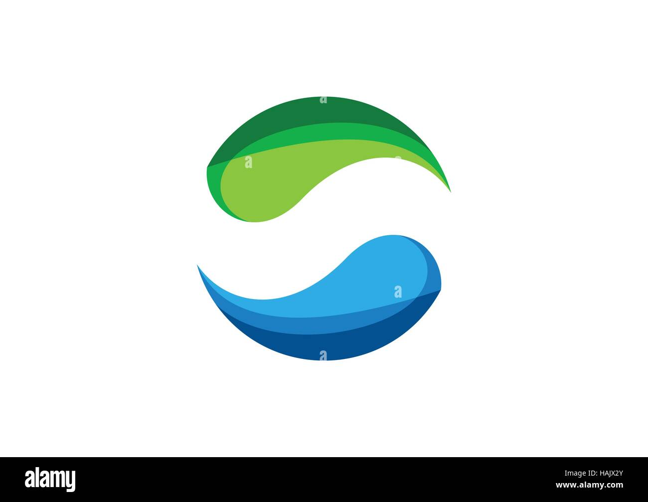 Circle,water,logo,elements,sphere,abstract infinity,letter S,company,corporation - Stock Image