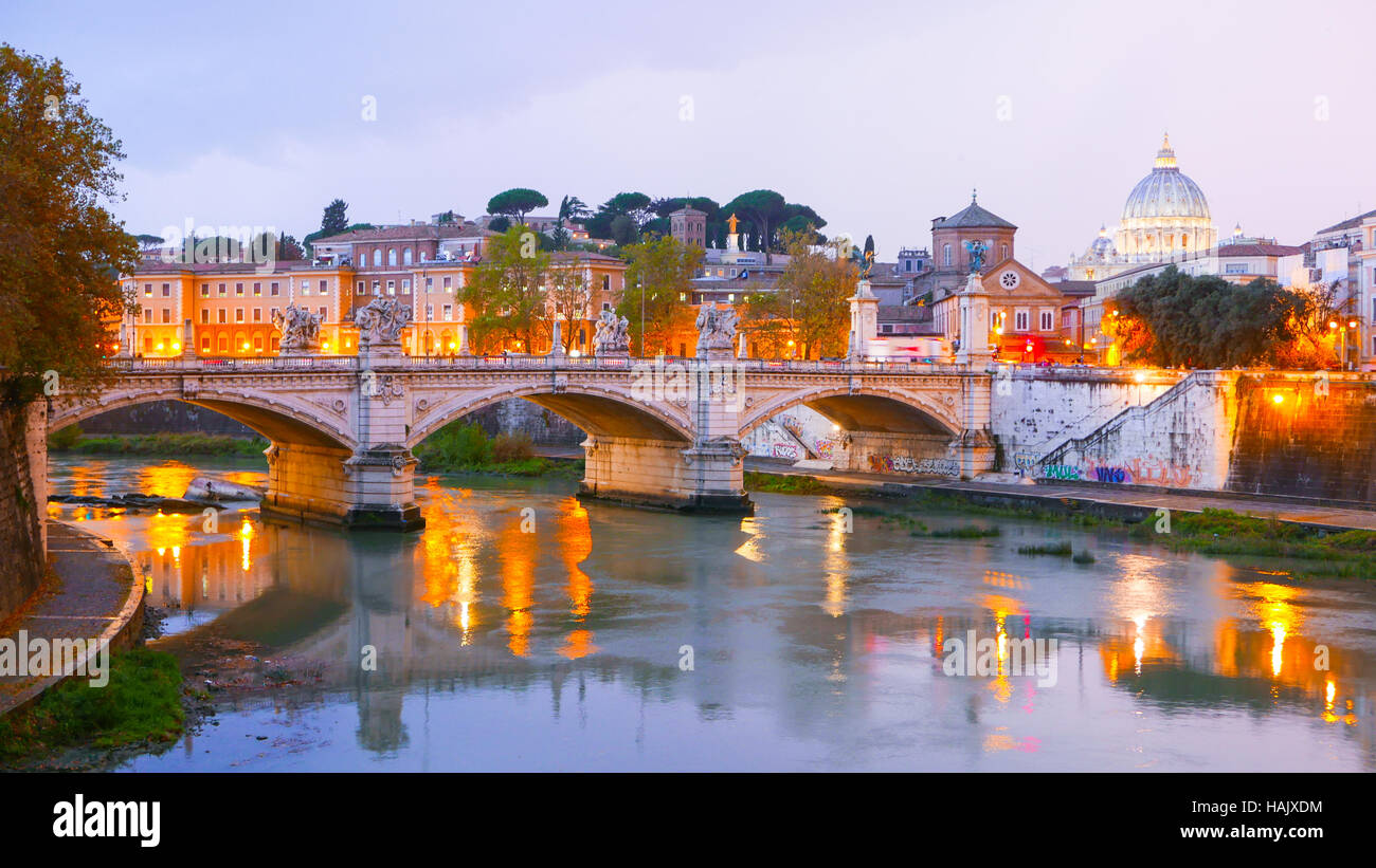 Typical view over River Tiber and Vatican in Rome - Stock Image