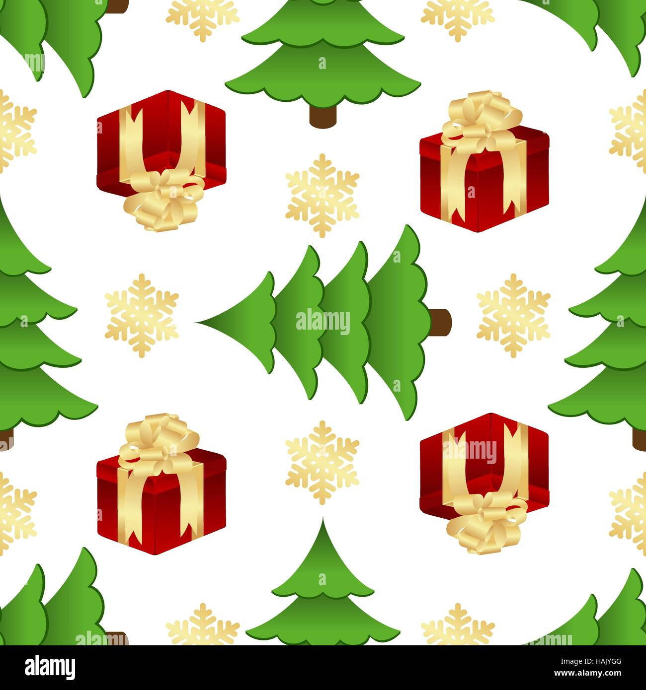 Christmas pattern with gifts and spruces - Stock Vector