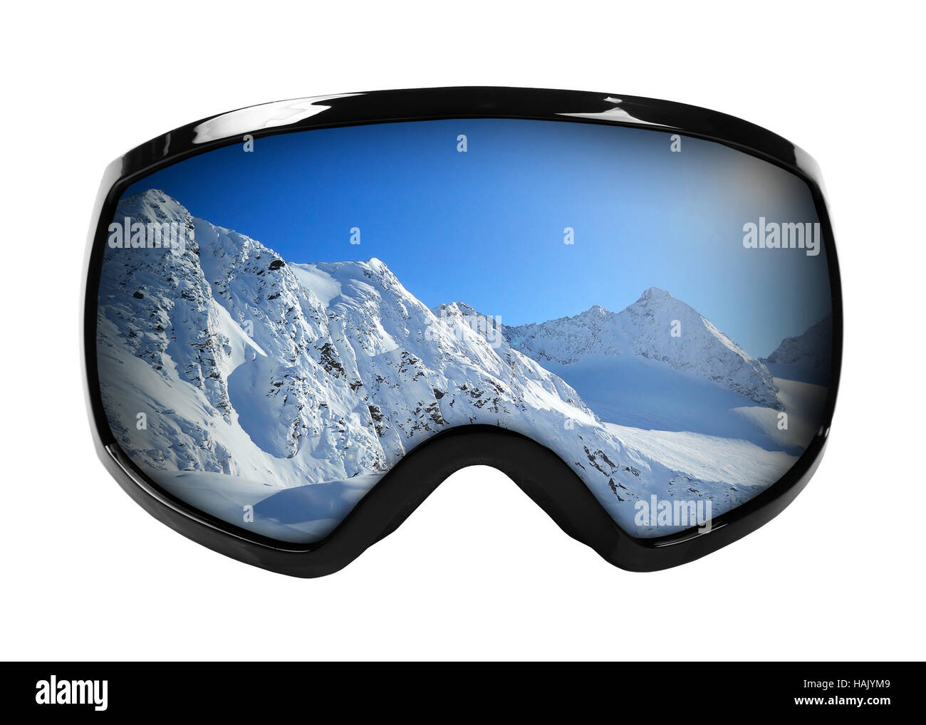 4d4a8a74554 ski goggles with reflection of mountains isolated on white Stock ...