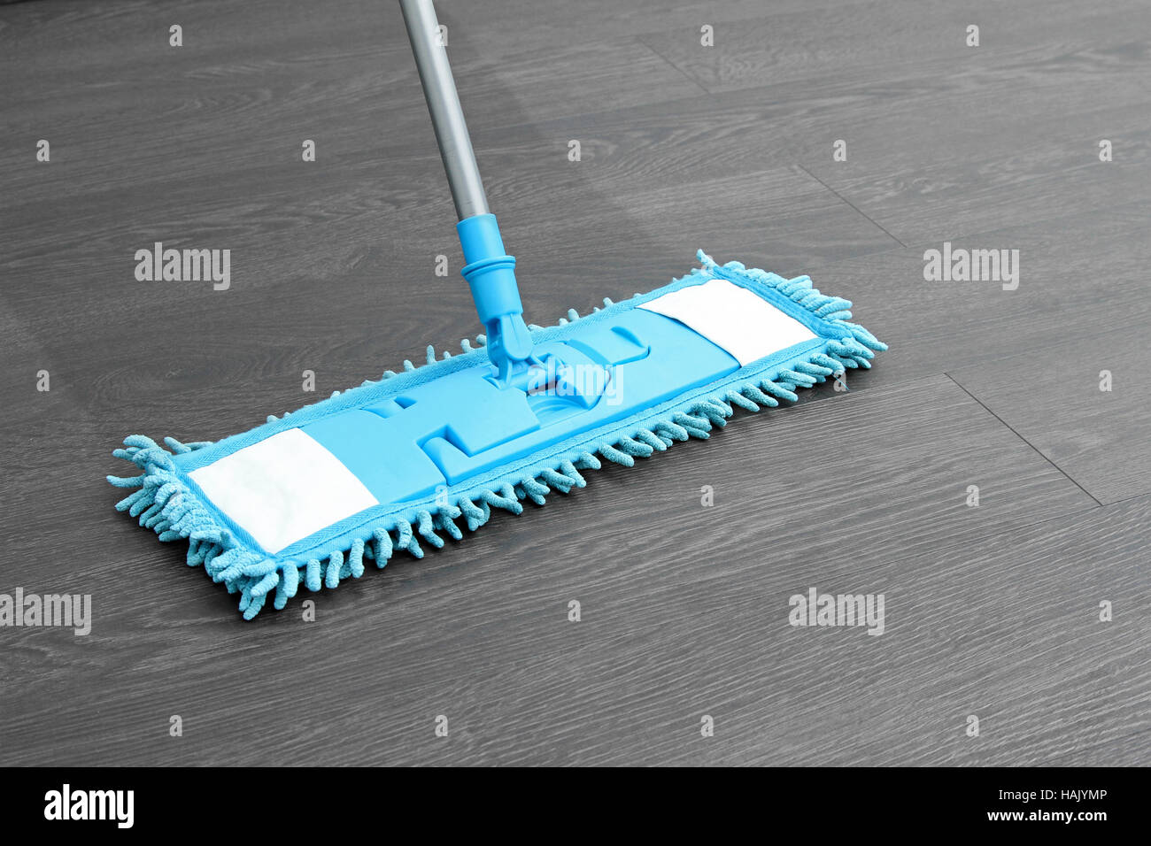 house cleaning - mop washing wooden floor - Stock Image