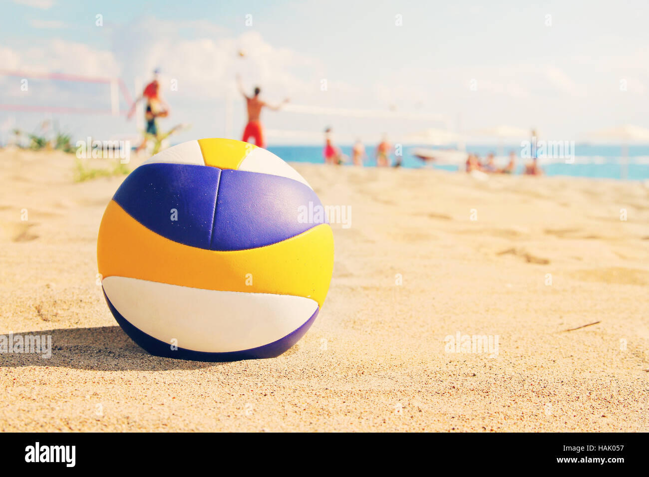 Beach Volleyball Ball In Sands Stock Photo Alamy