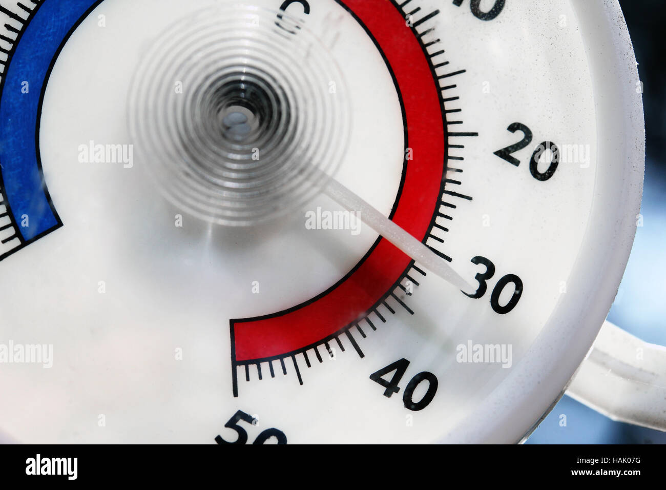 hot weather - closeup of outdoor thermometer - Stock Image