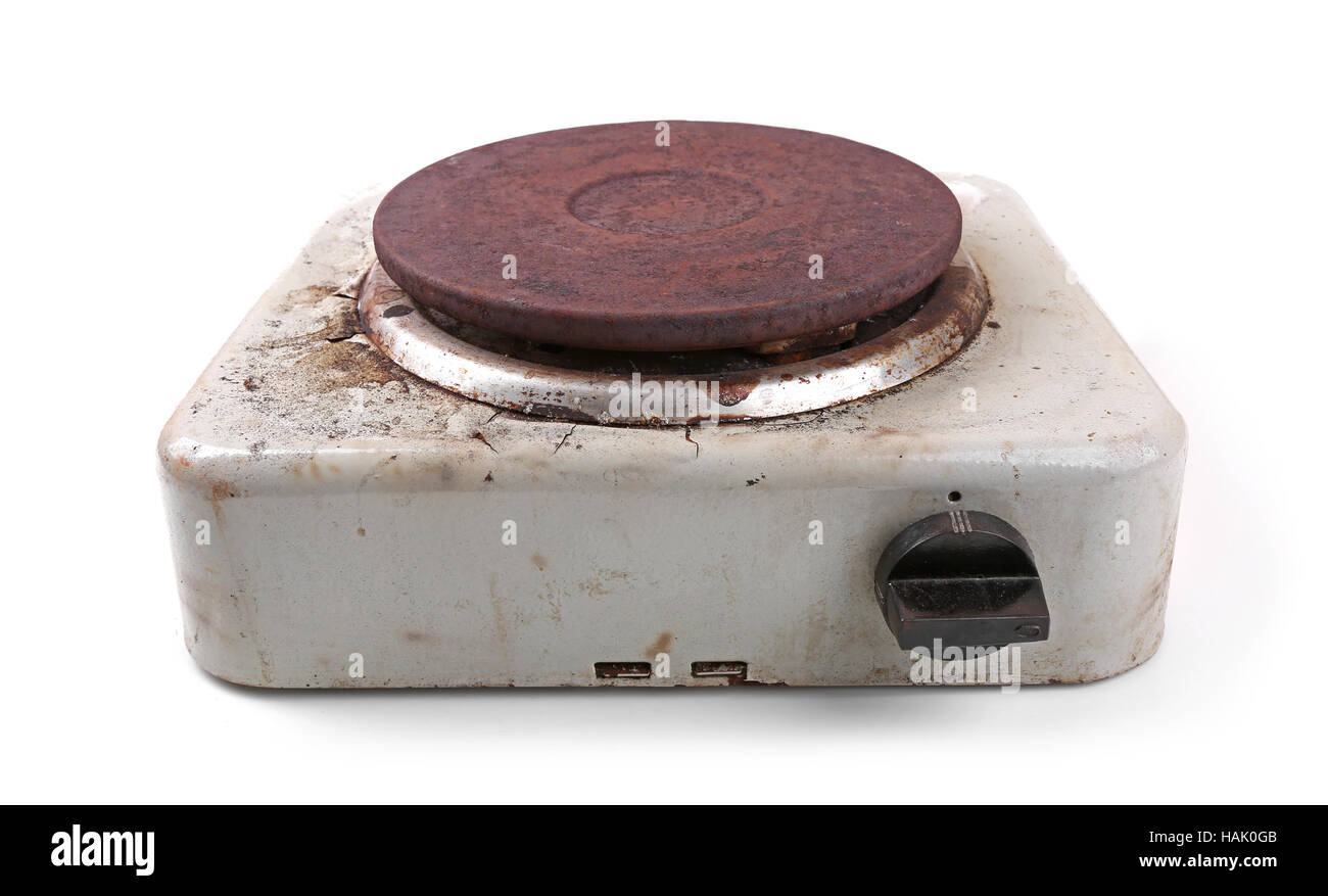 old dirty electric stove isolated on white - Stock Image