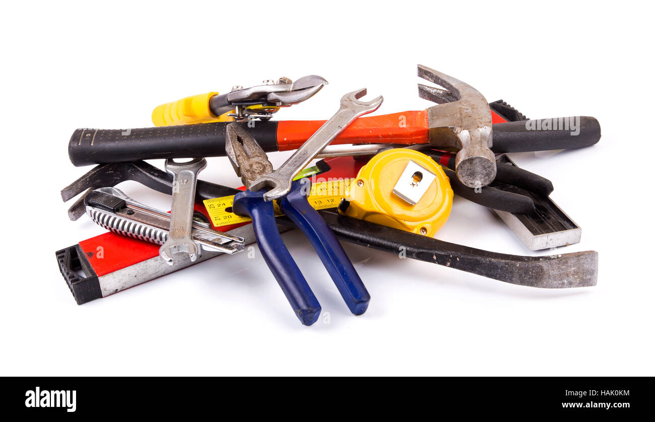 work tool heap on white background - Stock Image