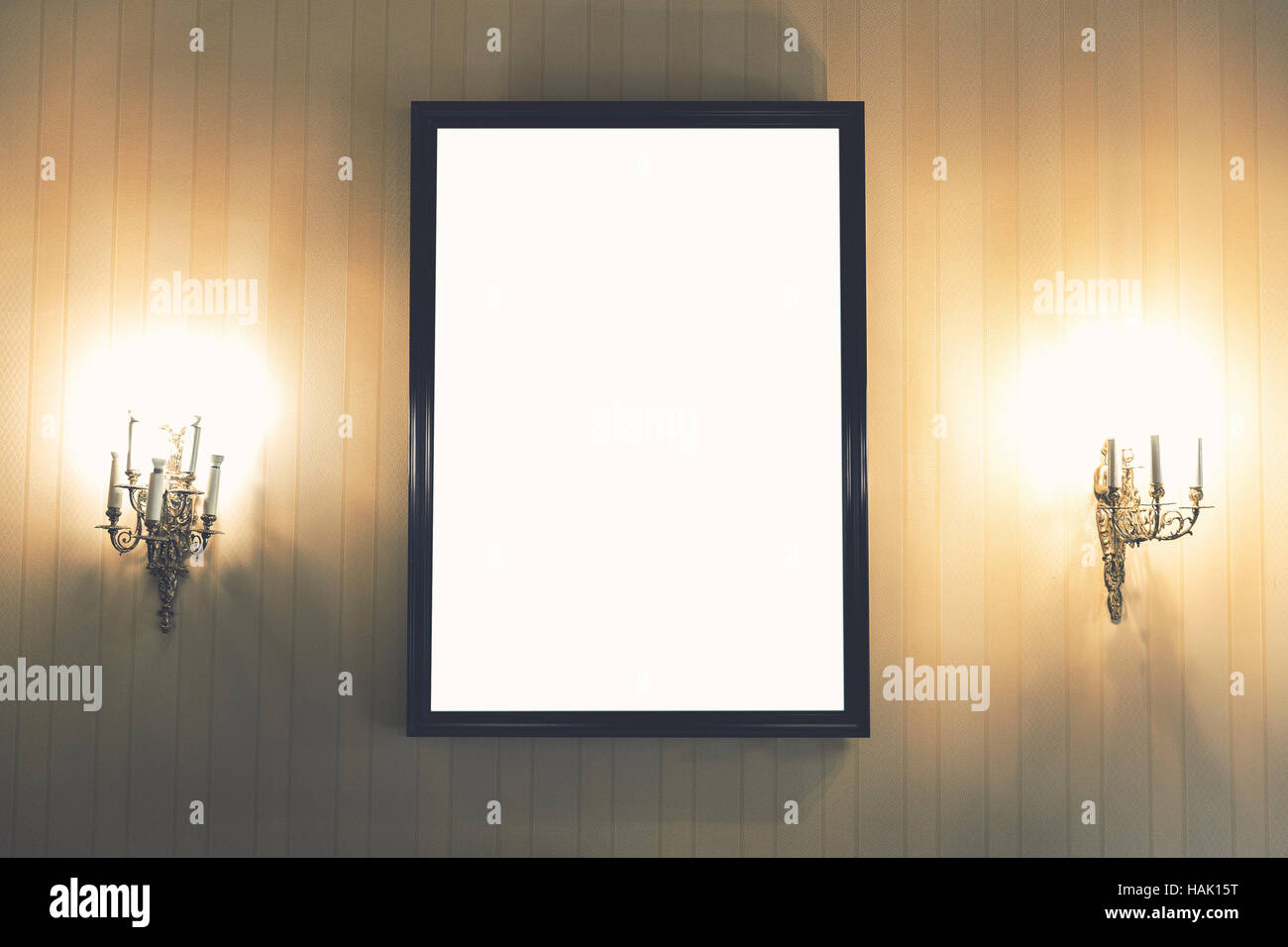 blank picture frame on the wall in vintage interior - Stock Image
