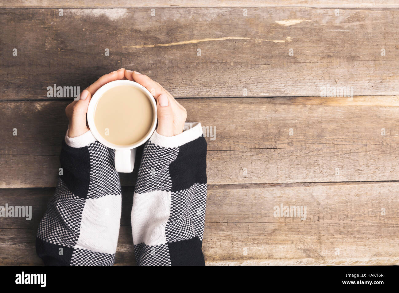 warm up with hot coffee drink - Stock Image