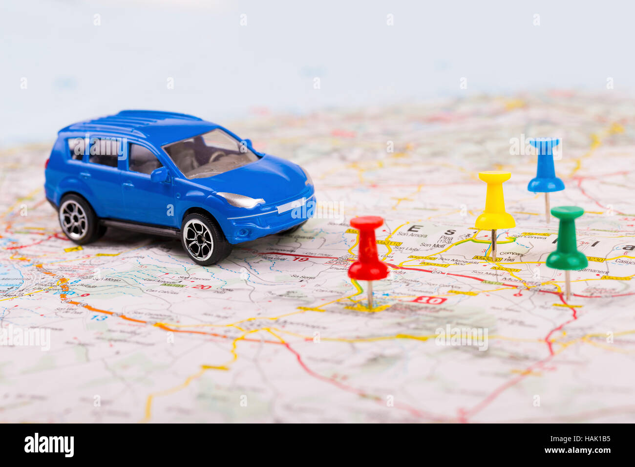 road trip concept, car with destination points on map Stock ... Map A Road Trip on a united states map, love map, awesome map,