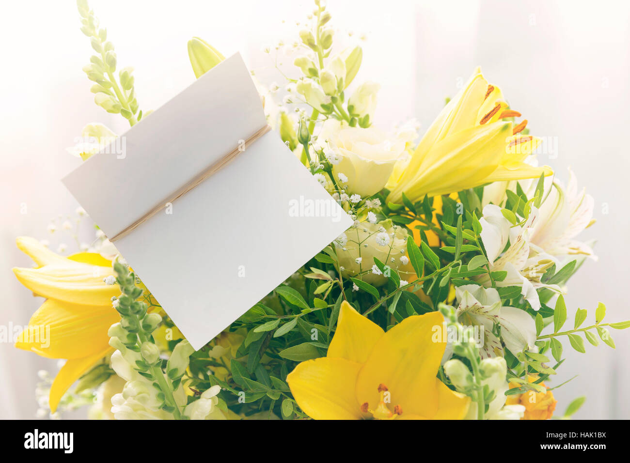 Flower Bouquet With A Blank Greeting Card Stock Photo 127037342 Alamy