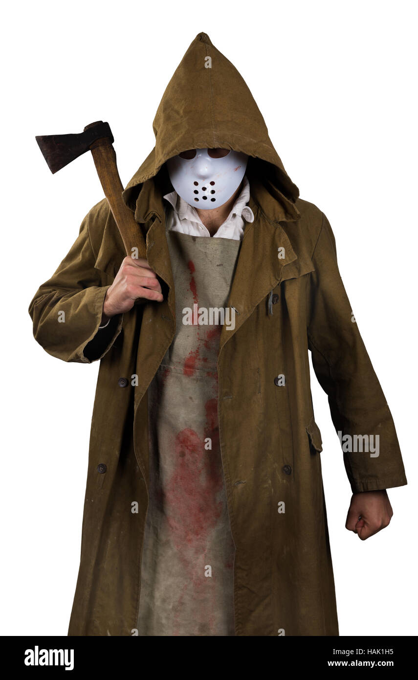 halloween costume - psycho killer with bloody apron and ax in his hands  sc 1 st  Alamy & halloween costume - psycho killer with bloody apron and ax in his ...