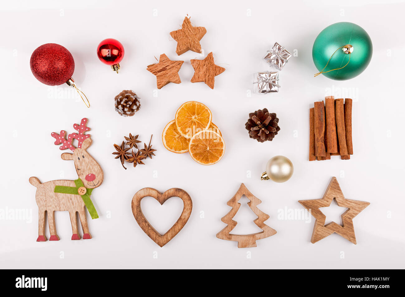 christmas decorations isolated on white background. top view - Stock Image