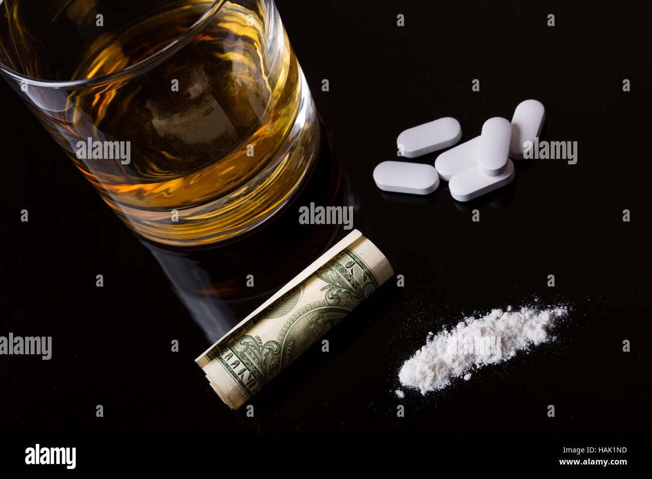 narcotics addiction - alcohol, drugs and cocaine - Stock Image