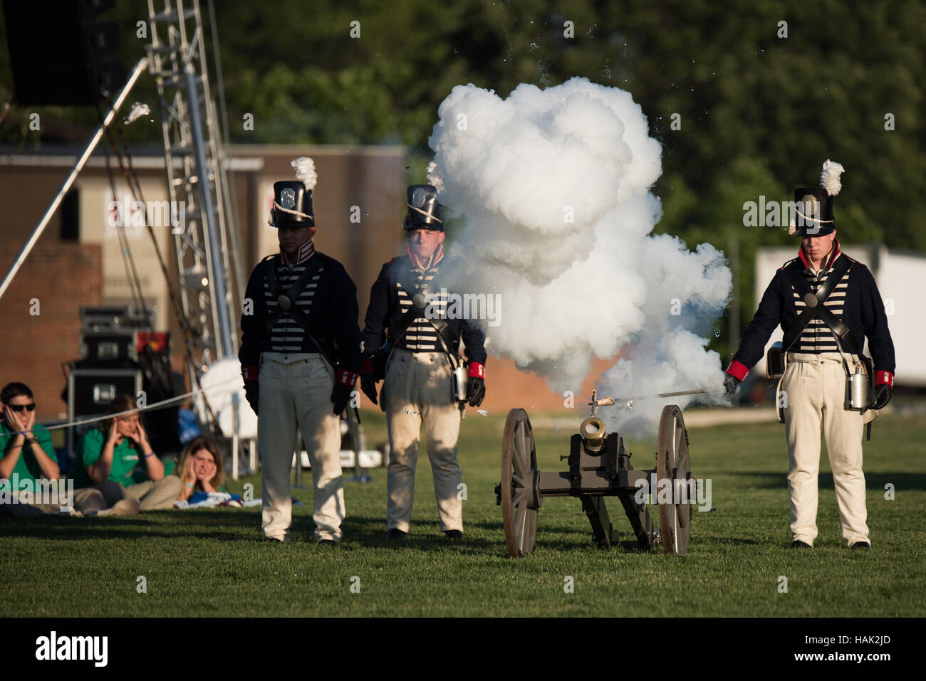 The U.S. Army's Twilight Tattoo is held on Tuesday evenings in the summer at Joint Base Myer-Henderson Hall - Stock Image