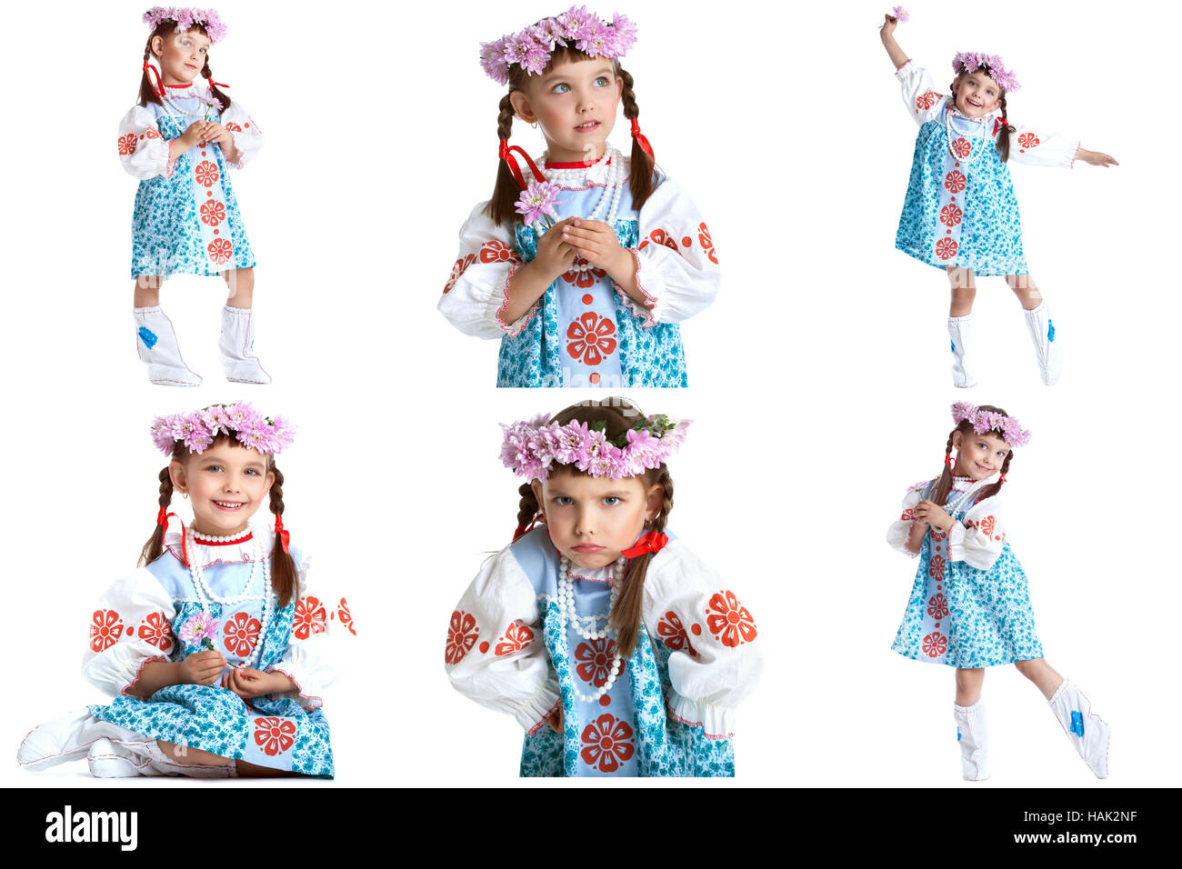 Collage of adorable little dancer in folk dress - Stock Image