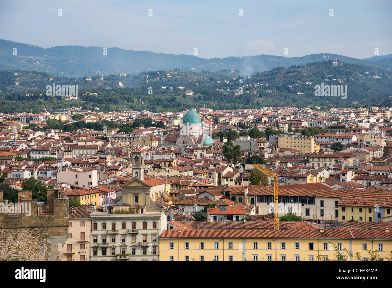 Great Synagogue of Florence inside  panorama of old city, capital of Tuscany region, Italy Stock Photo