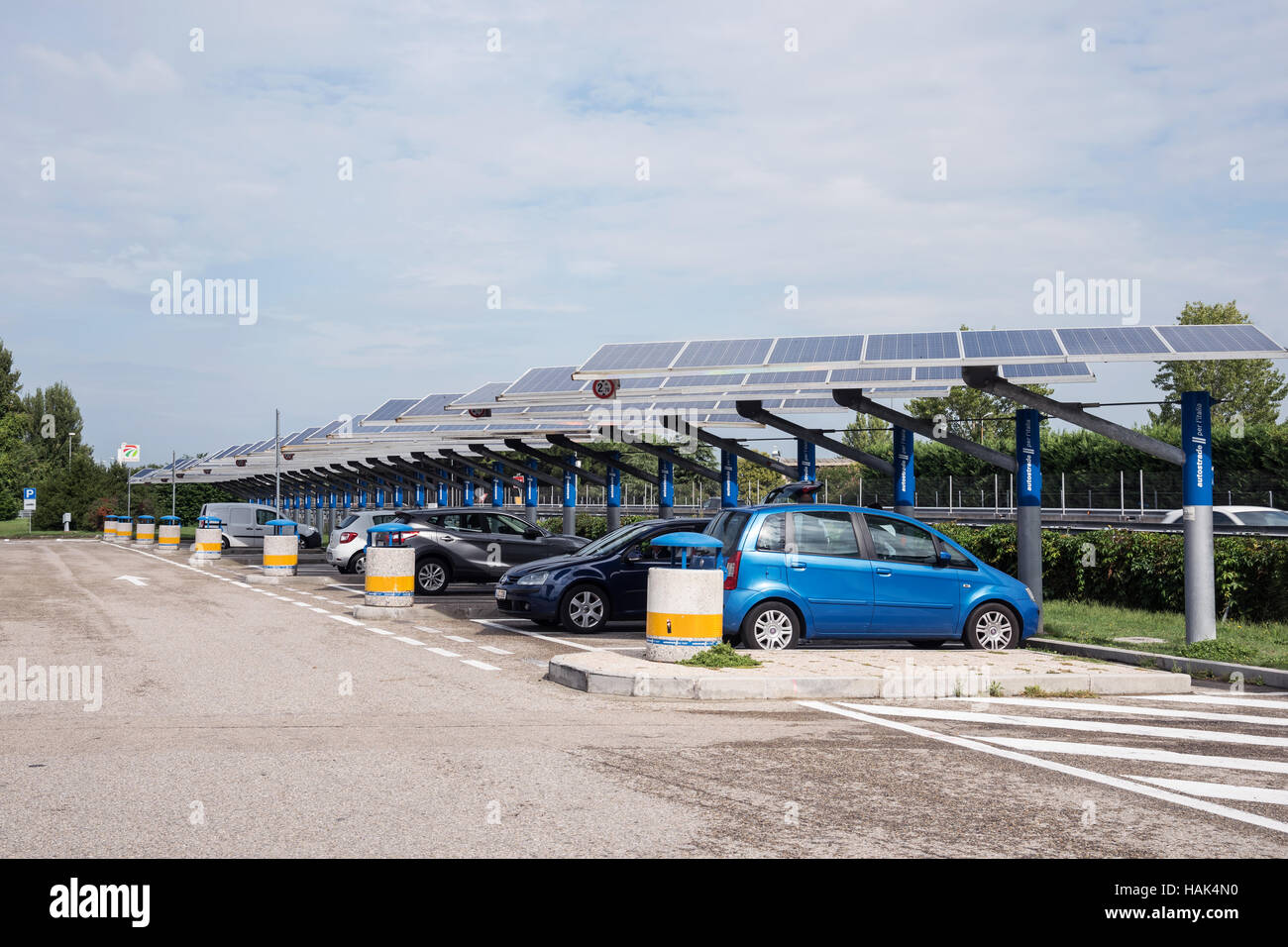 Several  electric  vehicles at  charging station,  Italy, Europe Stock Photo