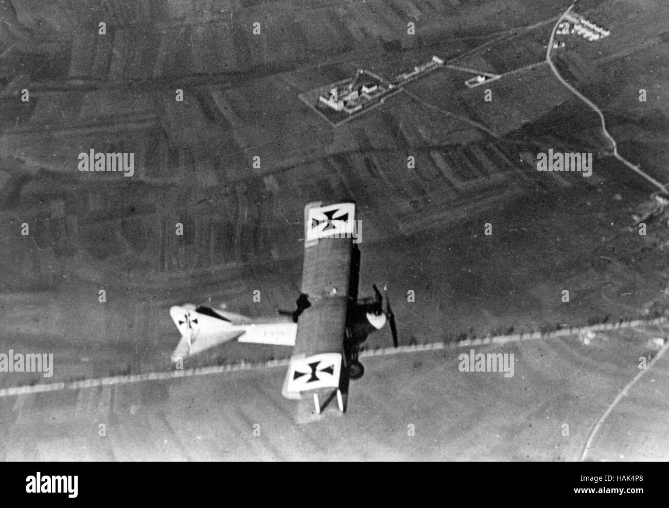 WW1 : German Albatros CIII in flight about 1916 - Stock Image