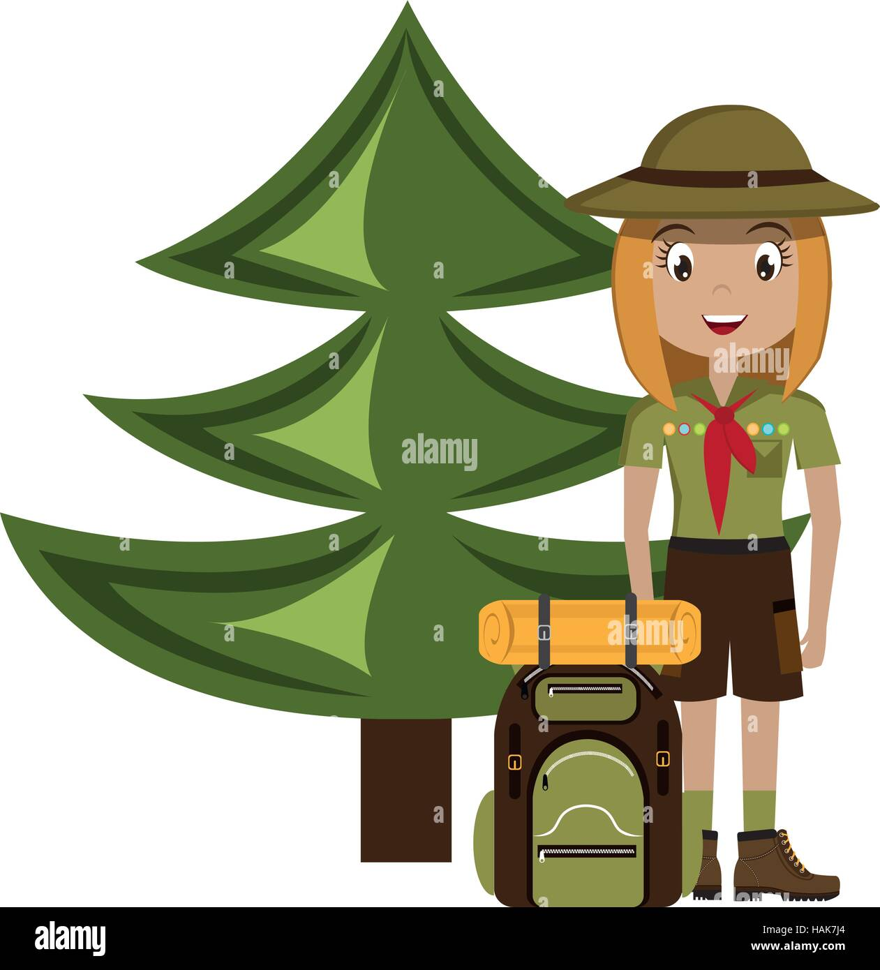 little scout character with travel bag icon vector illustration design - Stock Image