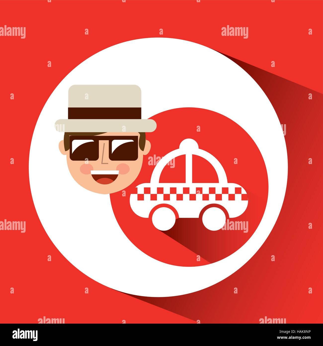 tourist man with camera and cab service vector illustration eps 10 - Stock Vector
