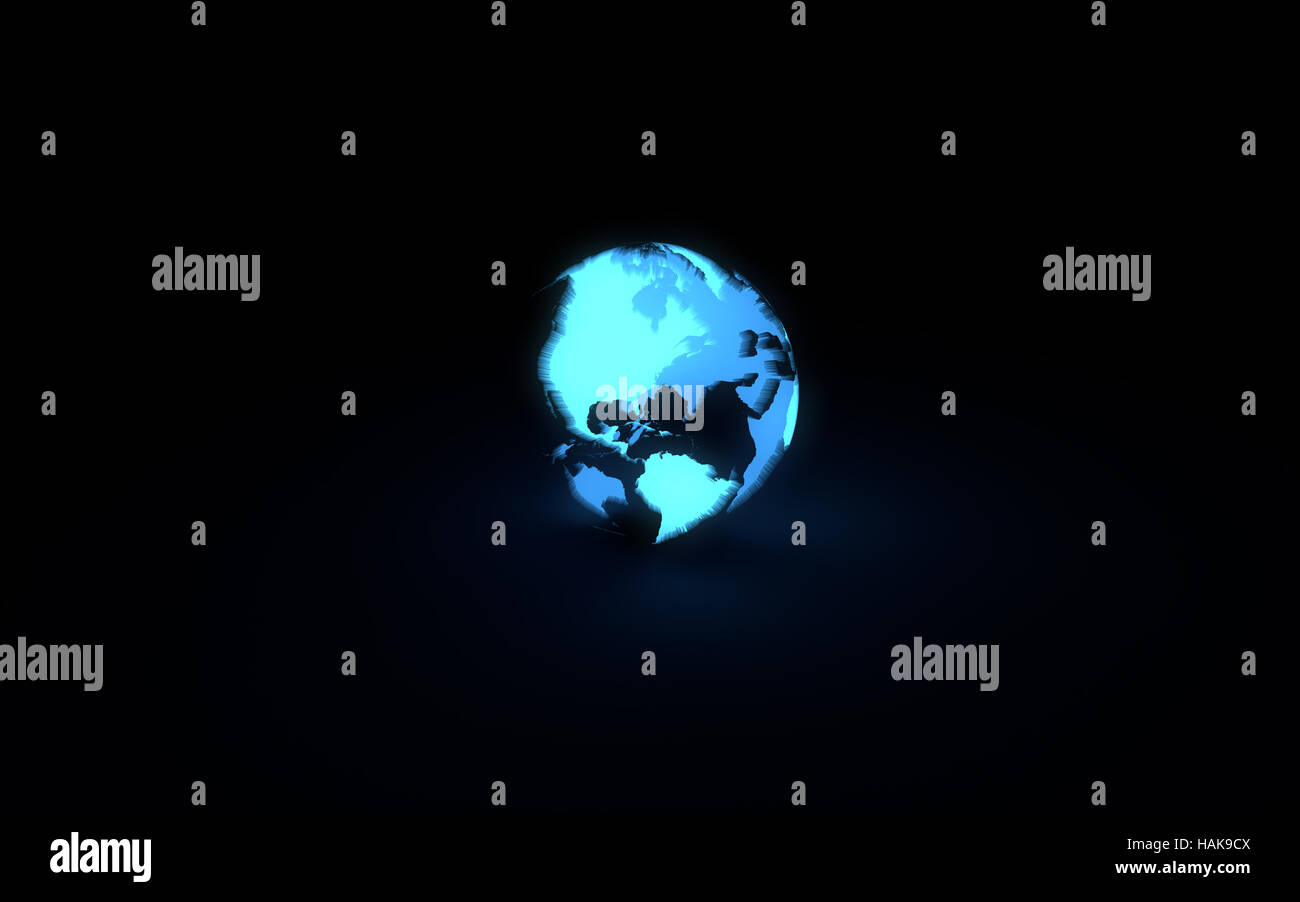 Abstract 3d model of blue glowing earth globe on black background. Front American continents - Stock Image