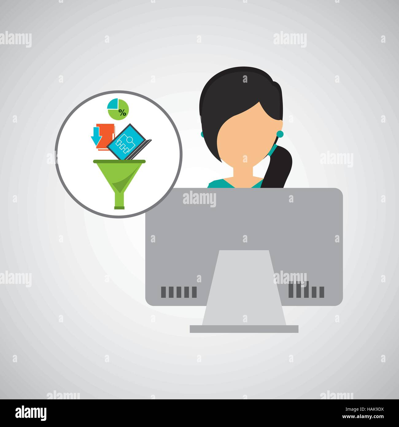 girl black hair using computer data analysis vector illustration eps 10 - Stock Vector