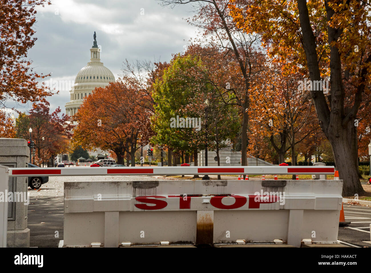 Washington, DC - A security barrier on Delaware Avenue near the U.S. Capitol building. - Stock Image