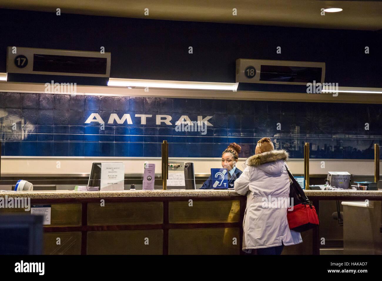 Washington, DC - The Amtrak ticket counter at Union Station. - Stock Image
