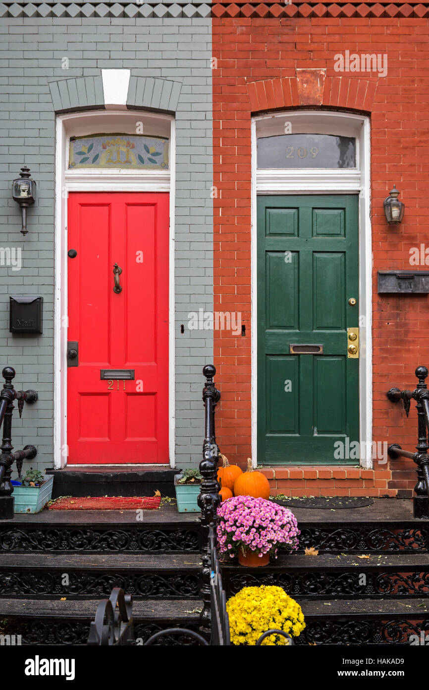 Washington DC - Row houses with red and green front doors on Capitol Hill. & Washington DC - Row houses with red and green front doors on ...