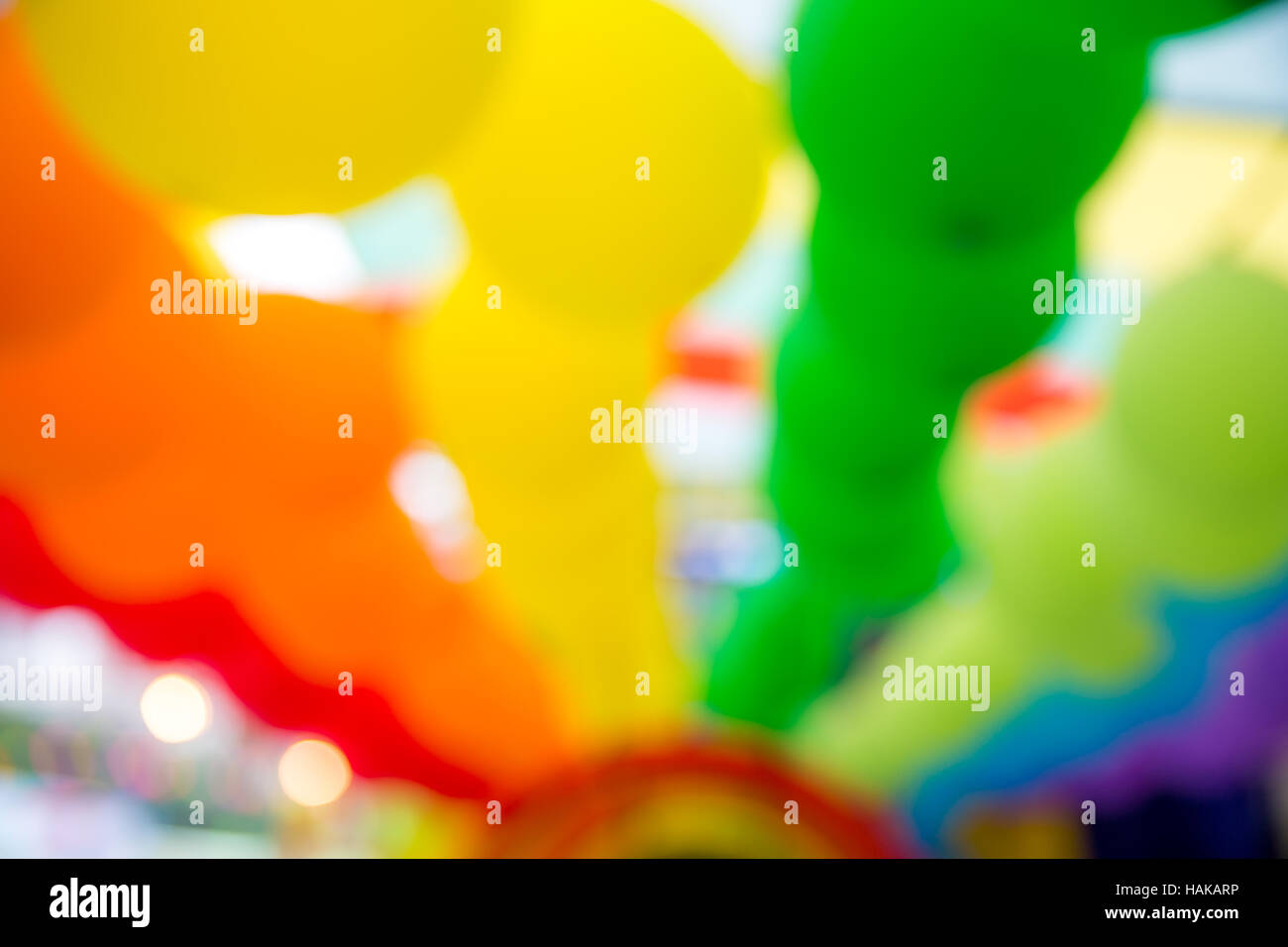 Colorful abstract blurs balloons background - Stock Image
