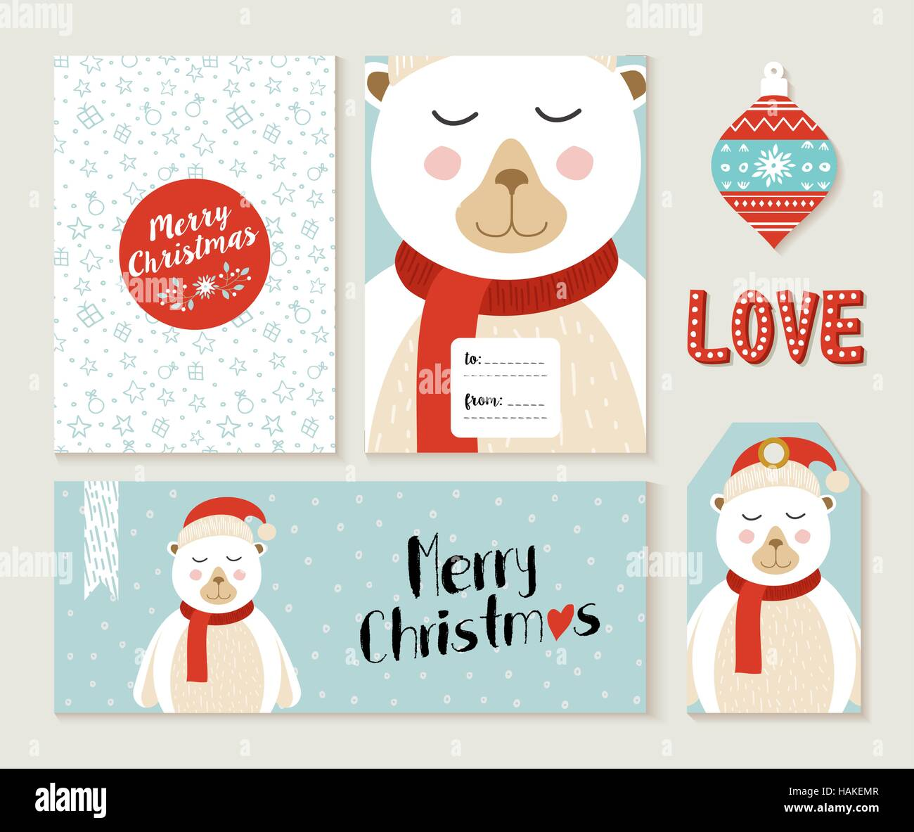 set of cute merry christmas greeting card decoration designs header