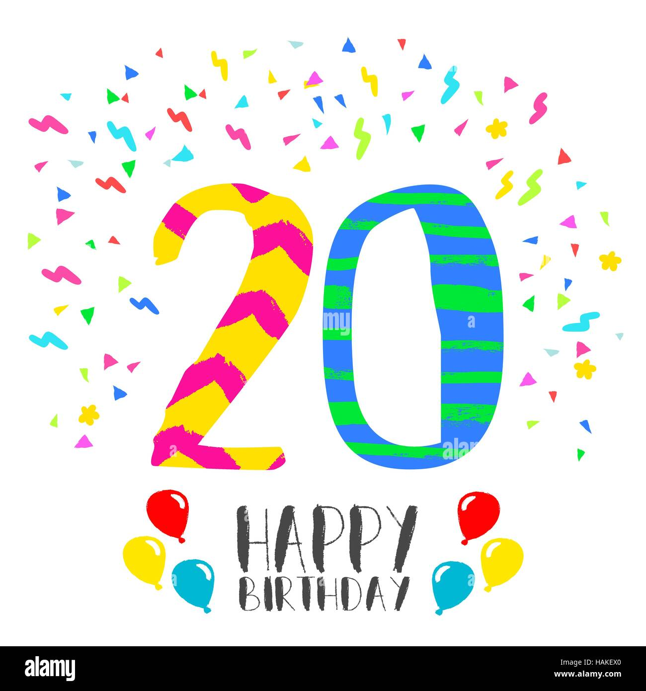 Happy birthday number 20 greeting card for twenty year in fun art happy birthday number 20 greeting card for twenty year in fun art style with party confetti anniversary invitation congratulations or celebration bookmarktalkfo Choice Image
