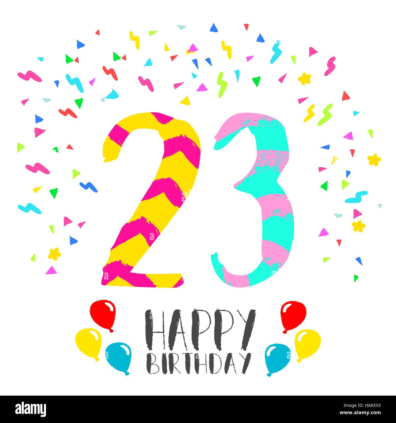 Happy birthday number 23, greeting card for twenty three year in fun art style with party confetti. Anniversary Stock Vector
