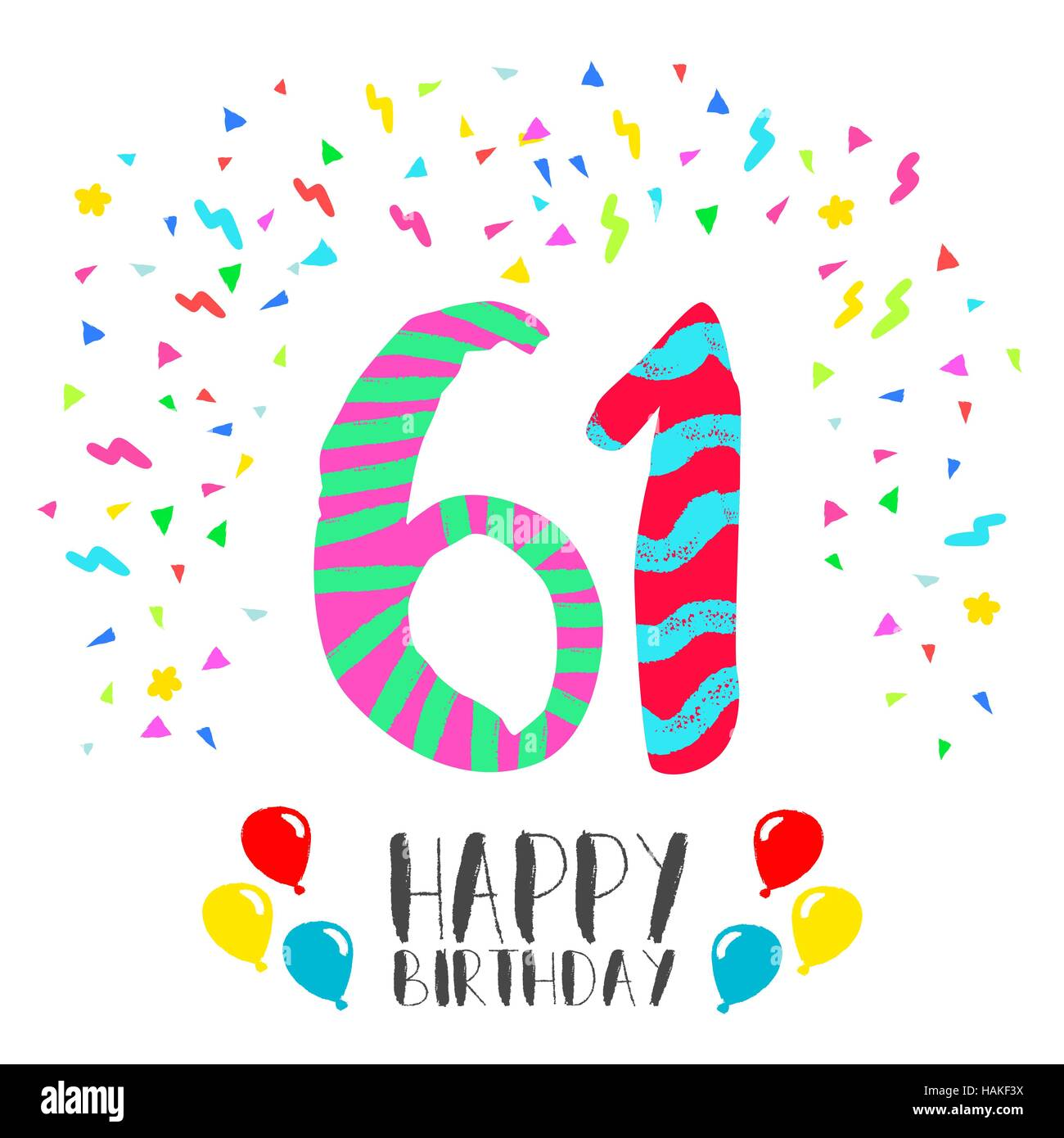 Happy Birthday Number 61, Greeting Card For Sixty One Year